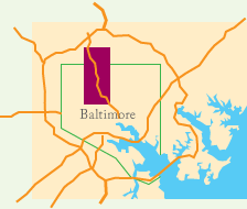 Map of trail showing it in relationship to Baltimore.