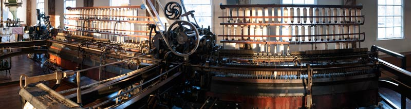 Panoramic photo of a mule spinning machine, Slater Mill, R.I.